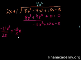 Dividing polynomials : Algebraic Long Di... Volume Algebra series by Sal Khan