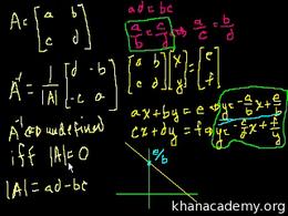 Inverting matrices : Singular Matrices Volume Algebra series by Sal Khan