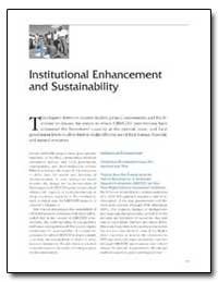 Institutional Enhancement and Sustainabi... by The World Bank