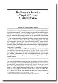 The Domestic Benefits of Tropical Forest... by Chomitz, Kenneth M.
