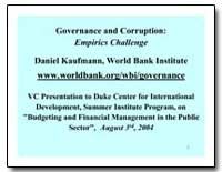 Governance and Corruption : Empirics Cha... by Kaufmann, Daniel