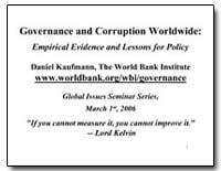 Governance and Corruption Worldwide : Em... by Kaufmann, Daniel