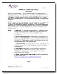 American Community Survey American Commu... by U. S. Census Bureau Department