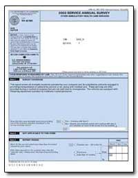 2003 Service Annual Survey Other Ambulat... by U. S. Census Bureau Department
