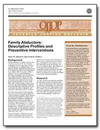 Family Abductors : Descriptive Profiles ... by Johnston, Janet R.