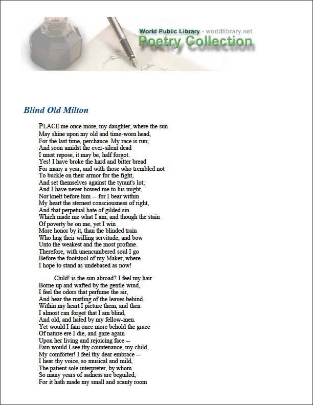 Blind Old Milton by Aytoun, William Edmondstoune