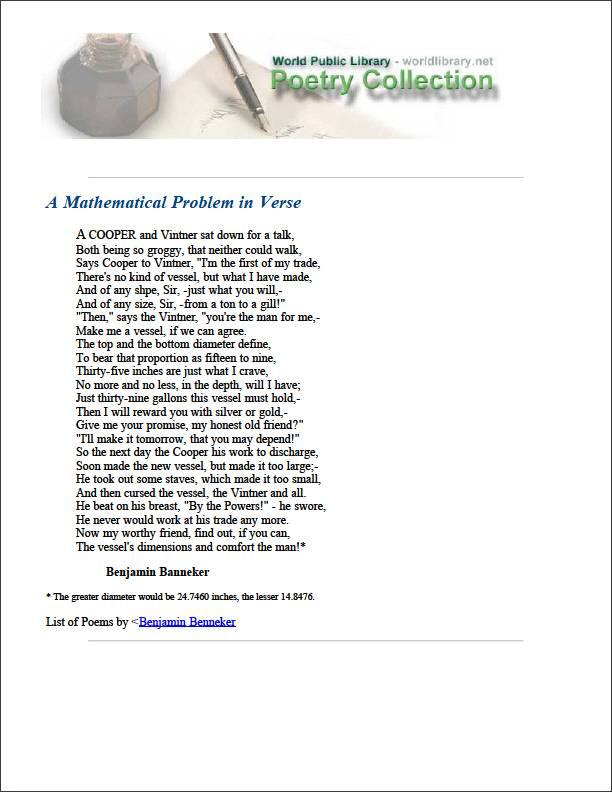 A Mathematical Problem in Verse by Banneker, Benjamin