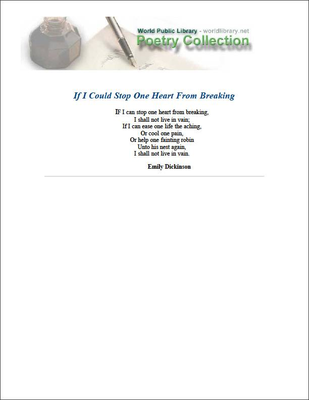 If I Could Stop One Heart from Breaking by Dickinson, Emily