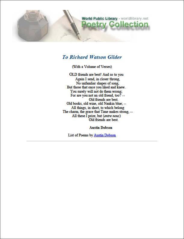 To Richard Watson Gilder by Dobson, Austin