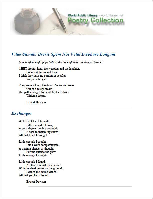 Vitae Summa Brevis Spem Nos Vetat Incoha... by Dowson, Ernest