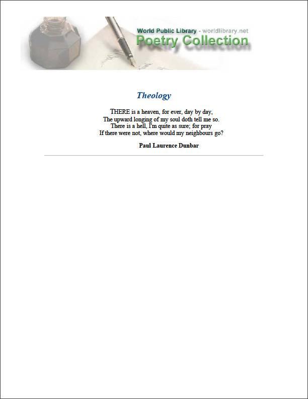 Theology by Dunbar, Paul Laurence