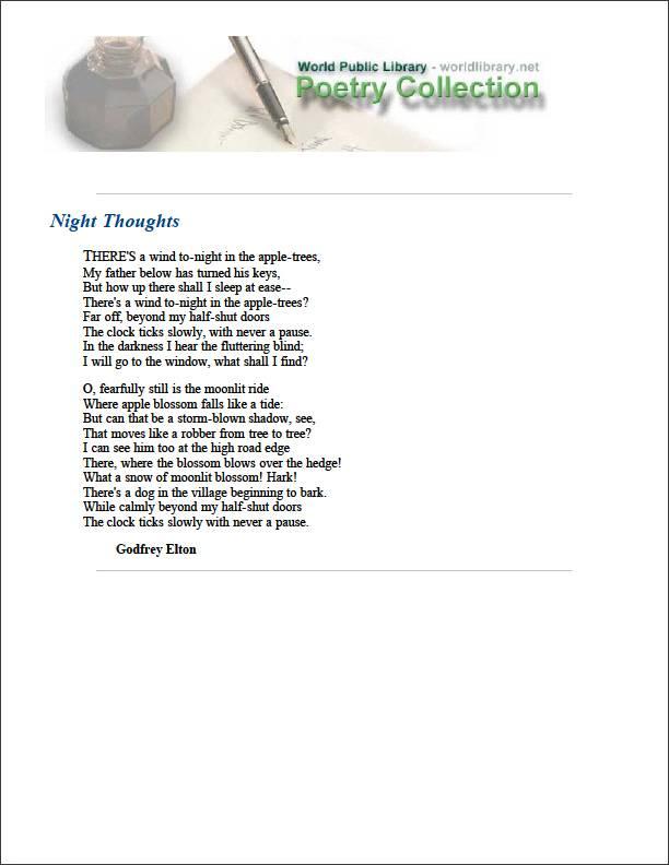 Night Thoughts by Elton, Godfrey