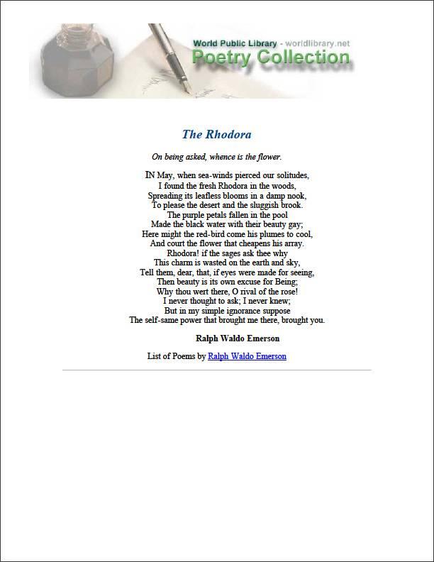 The Rhodora by Emerson, Ralph Waldo