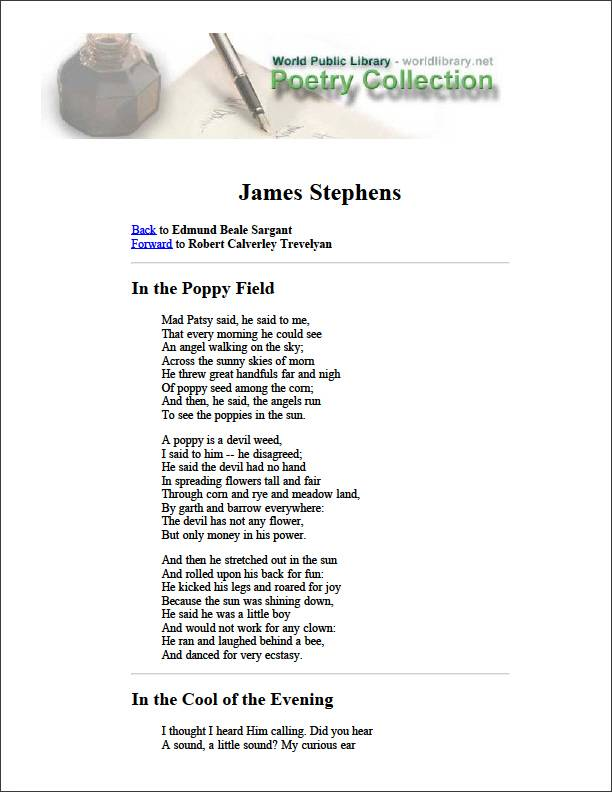 In the Poppy Field by Stephens, James