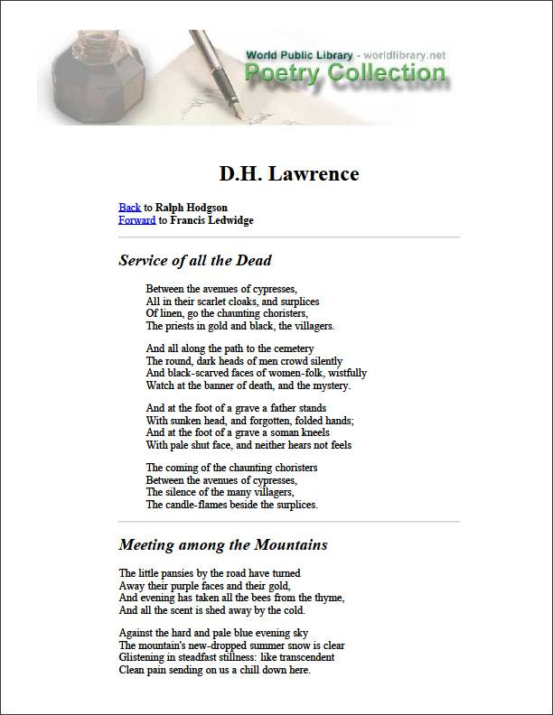 Dh Lawrence by Hodgson, Ralph