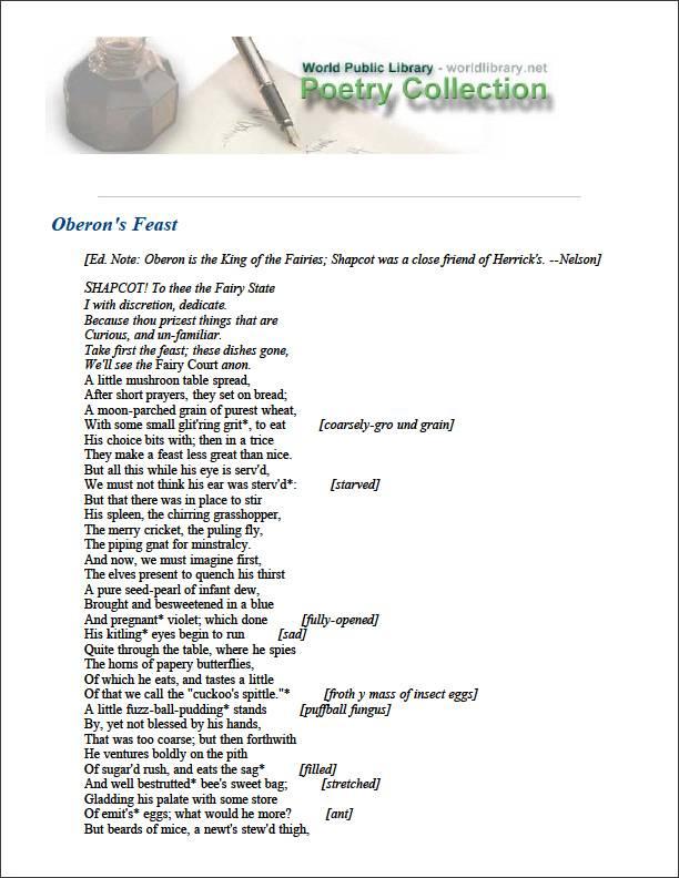 Oberon's Feast by Herrick, Robert