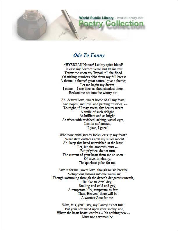 Ode to Fanny by Keats, John
