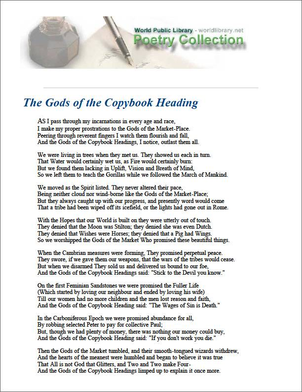 The Gods of the Copybook Heading by Kipling, Rudyard