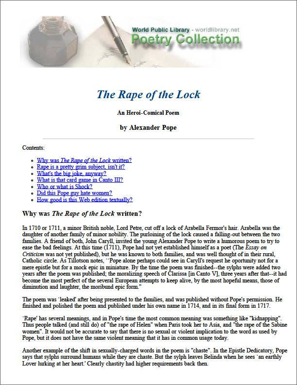 The Rape of the Lock an Hero Comical Poe... by Pope, Alexander