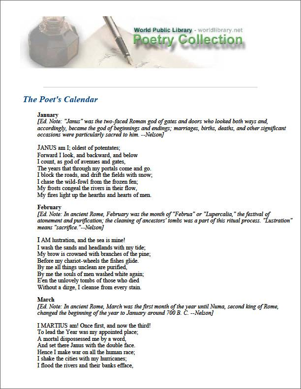 The Poet's Calendar by Longfellow, Henry Wadsworth