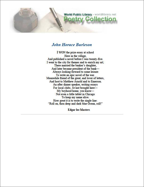 John Horace Burleson by Masters, Edgar Lee