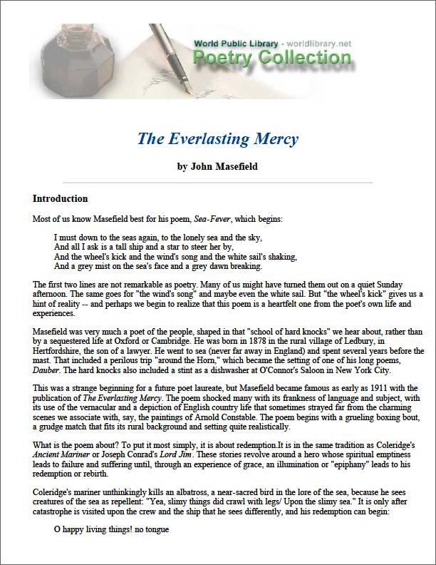 The Everlasting Mercy by Masefield, John