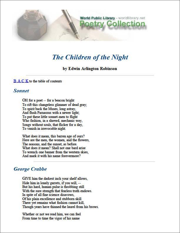 The Children of the Night by Robinson, Edwin Arlington