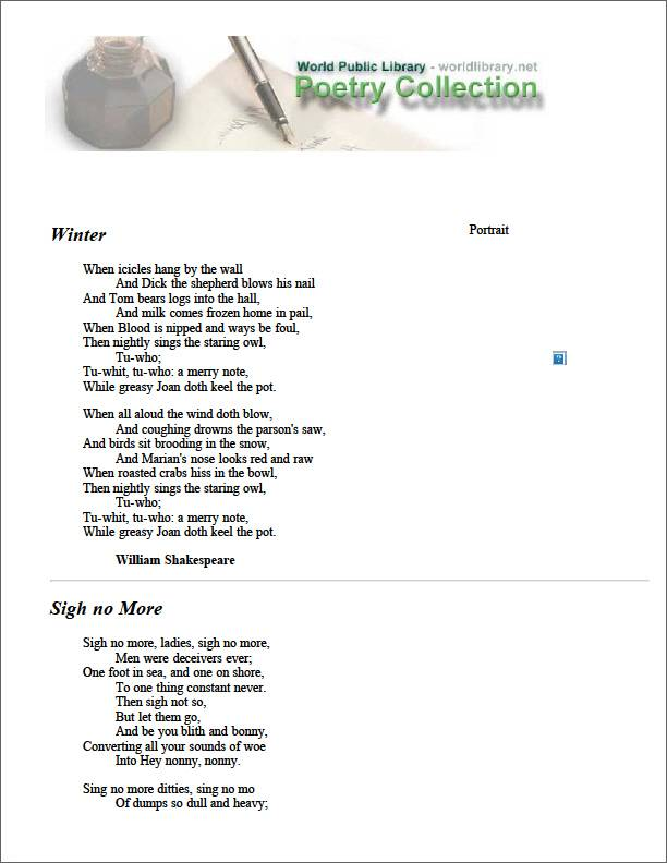 Winter by Shakespeare, William