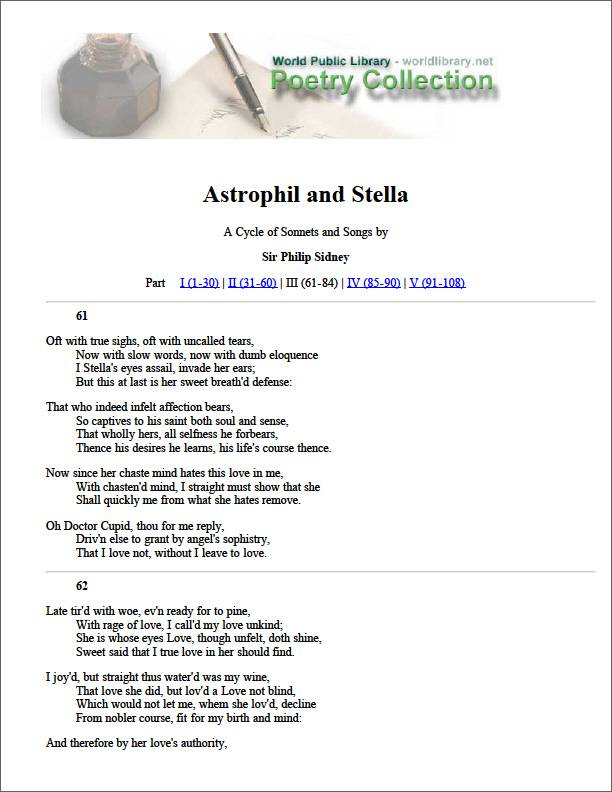 Astrophil and Stella by Sidney, Philip, Sir