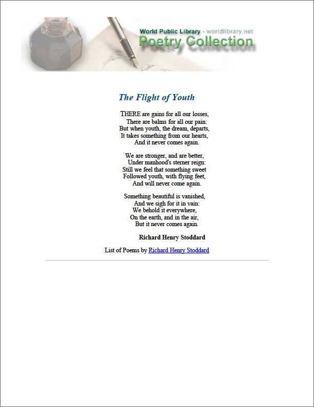 The Flight of Youth by Stoddard, Richard Henry