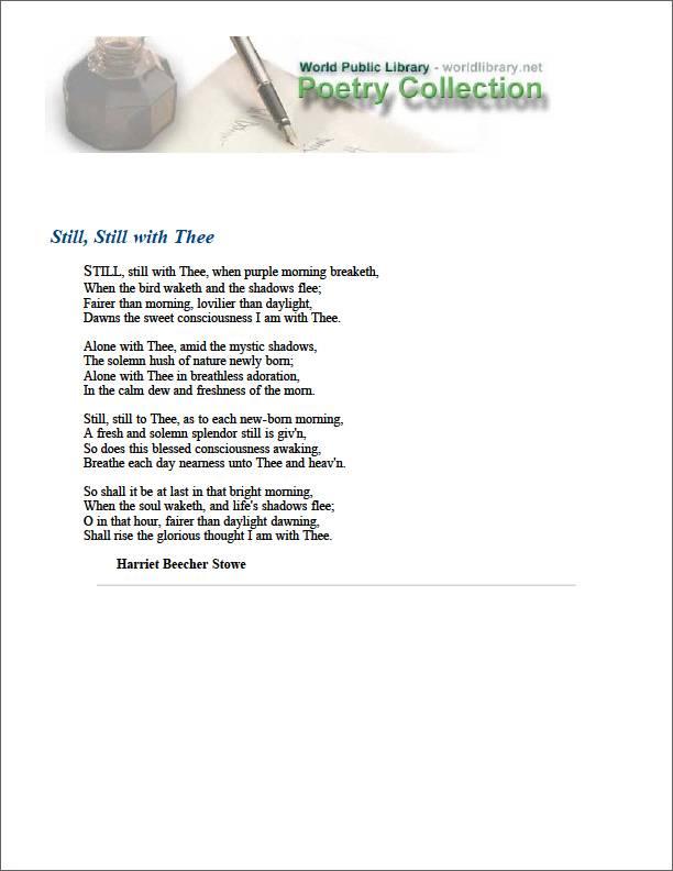 Still, Still with Thee by Stowe, Harriet Beecher