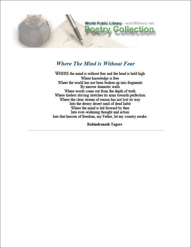 Where the Mind Is Without Fear by Tagore, Rabindranath, Sir