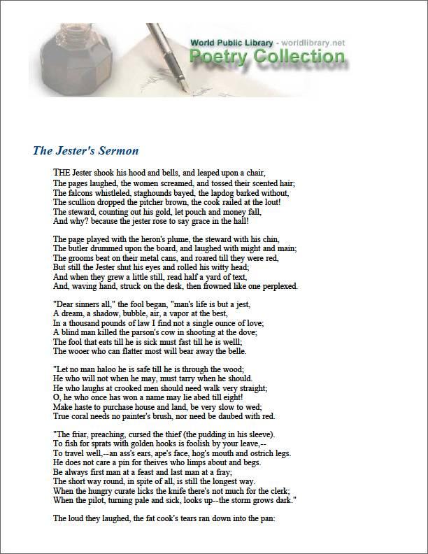 The Jester's Sermon by Thornbury, George Walter