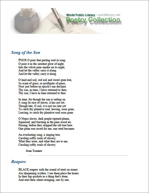 Song of the Son by Toomer, Jean