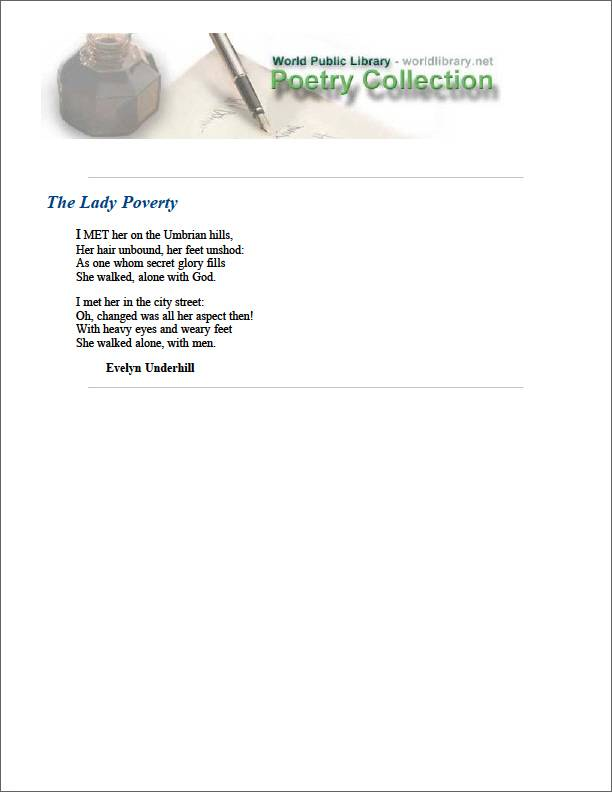 The Lady Poverty by Underhill, Evelyn