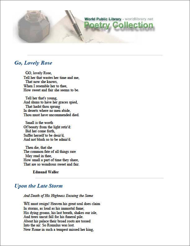 Go, Lovely Rose by Waller, Edmund