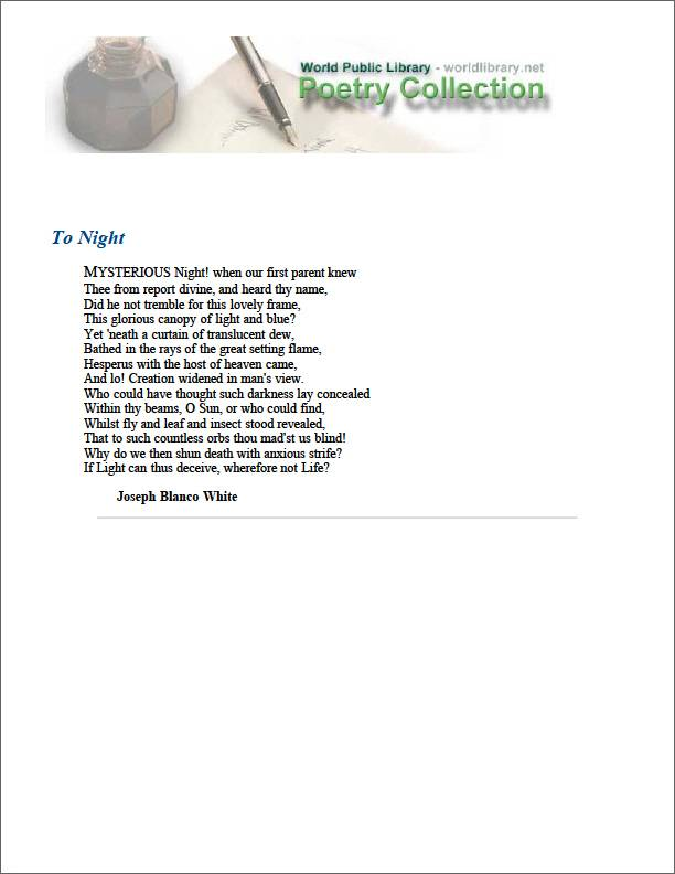 To Night by White, Joseph Blanco