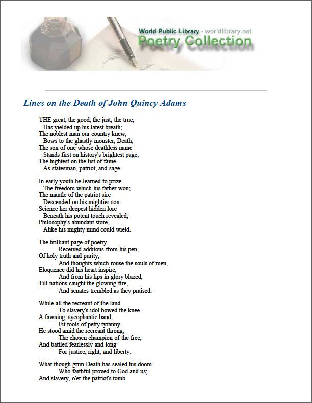 Lines on the Death of John Quincy Adams by Whitfield, James Monroe