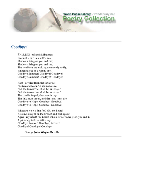 Goodbye by Whyte-Melville, George John