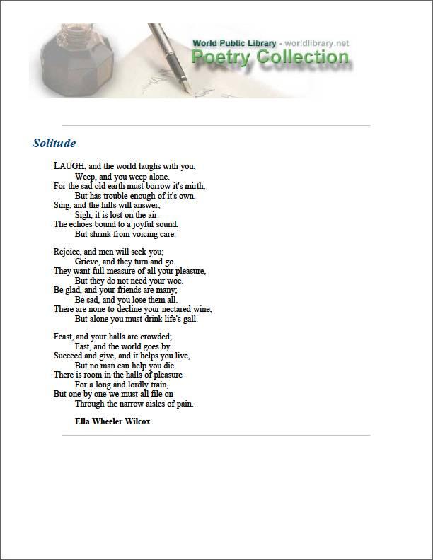 Solitude by Wilcox, Ella Wheeler