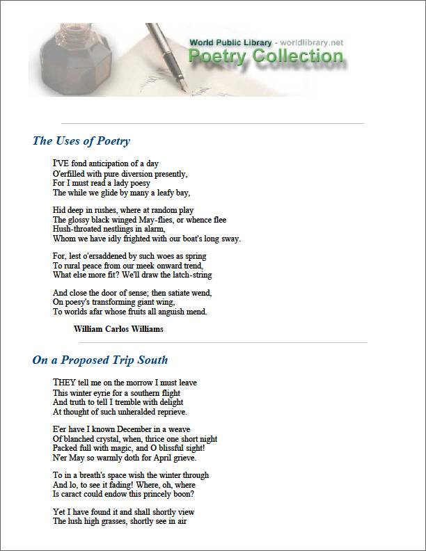 The Uses of Poetry by Williams, William Carlos