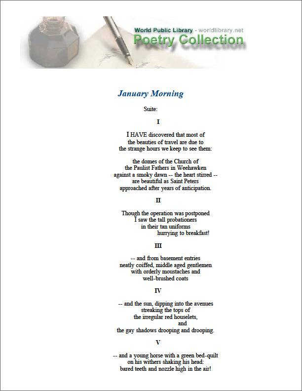 January Morning Suite by Williams, William Carlos