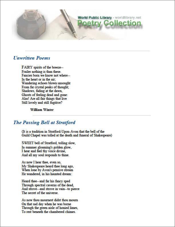 Unwritten Poems by Winter, William