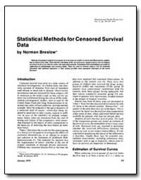 Statistical Methods for Censored Surviva... by Breslow, Norman