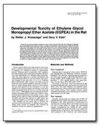 Developmental Toxicity of Ethylene Glyco... by Krasavage, Walter J.