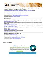 Applied Physics Letters : Influence of p... Volume Issue : June 2012 by Yoshinobu Kawaguchi, Chia-Yen Huang, Yuh-Renn Wu, ...
