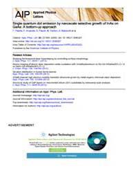 Applied Physics Letters : Single quantum... Volume Issue : December 2008 by F. Patella, F. Arciprete, E. Placidi, M. Fanfoni, ...