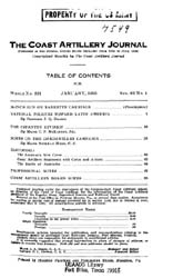 Coast Artillery Journal; January 1925 Volume 62, Issue 1 by Clark, F. S.