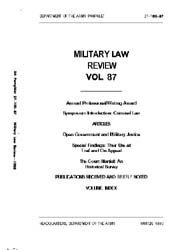 Military Law Review : January1980 ; Volu... by Department of the Army, Headquarters