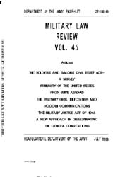 Military Law Review : July 1969 ; Volume... by Department of the Army, Headquarters